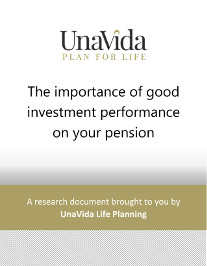 "UnaVida Pension Fund Performance - White document with a grey diagonal pattern at the bottom. Gold bar with the words ""A research document brough to you by UnaVida Life Planning"""