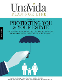 UnaVida Protecting you and your estate guide - Cartoon style hand holding an umbrella over a stencil of a mother, father and child